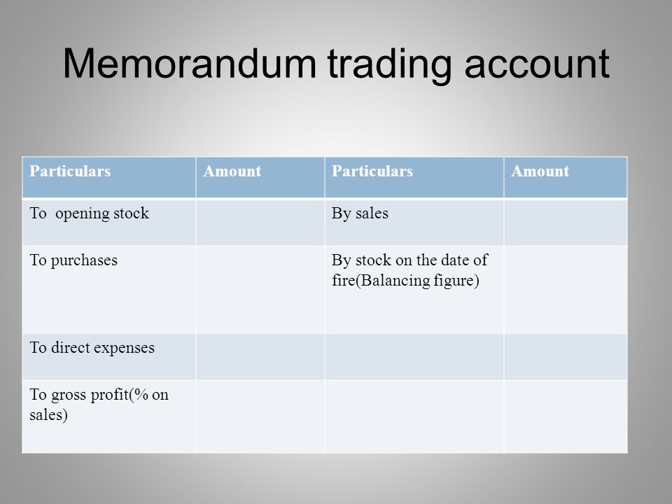 Memorandum trading account