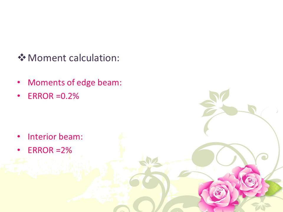 Moment calculation: Moments of edge beam: ERROR =0.2% Interior beam: