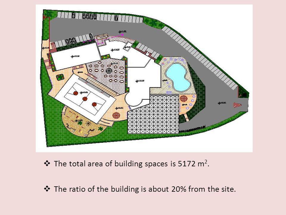 The total area of building spaces is 5172 m2.