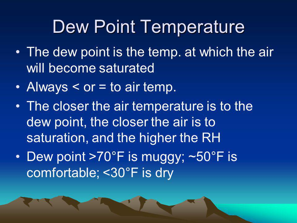 Dew Point Temperature The dew point is the temp. at which the air will become saturated. Always < or = to air temp.
