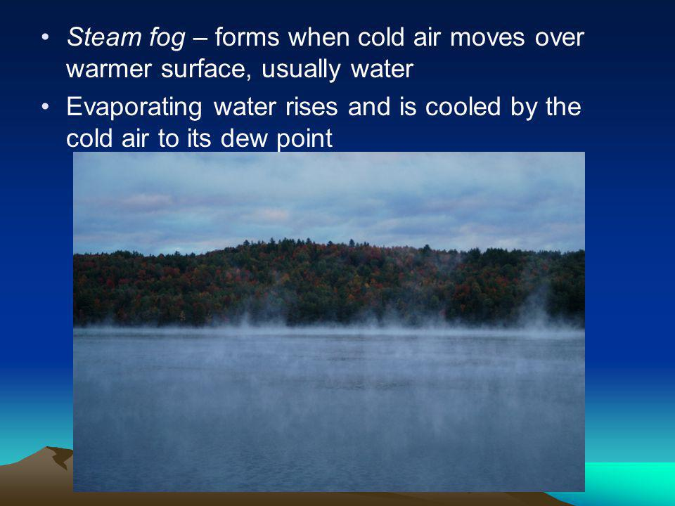 Steam fog – forms when cold air moves over warmer surface, usually water