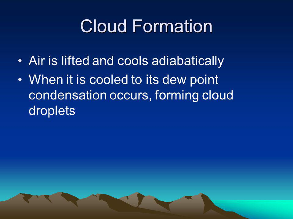 Cloud Formation Air is lifted and cools adiabatically