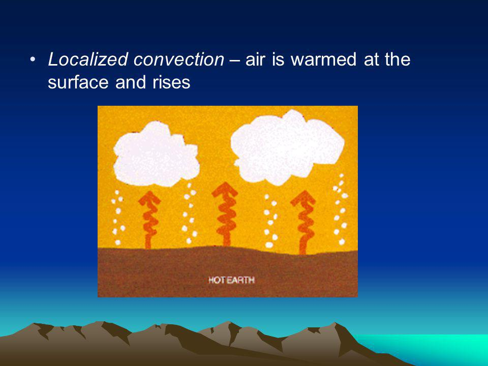Localized convection – air is warmed at the surface and rises