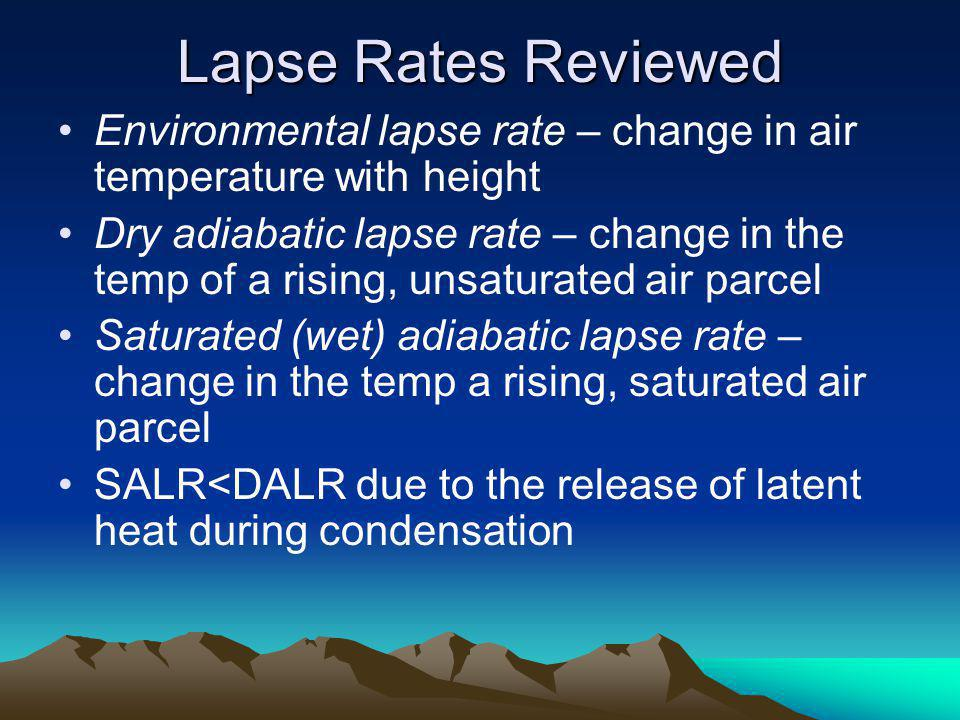Lapse Rates Reviewed Environmental lapse rate – change in air temperature with height.