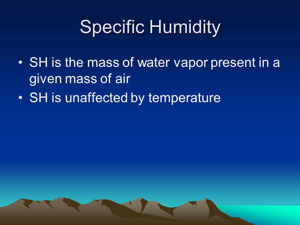 Specific Humidity SH is the mass of water vapor present in a given mass of air.