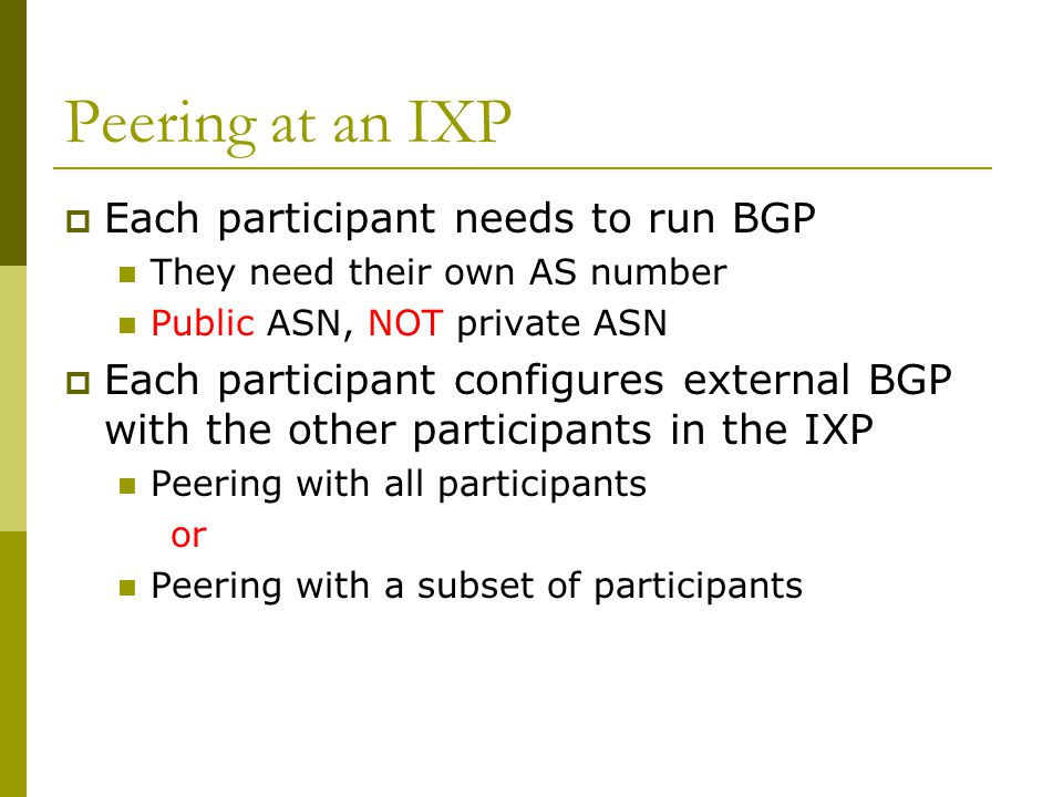 Peering at an IXP Each participant needs to run BGP
