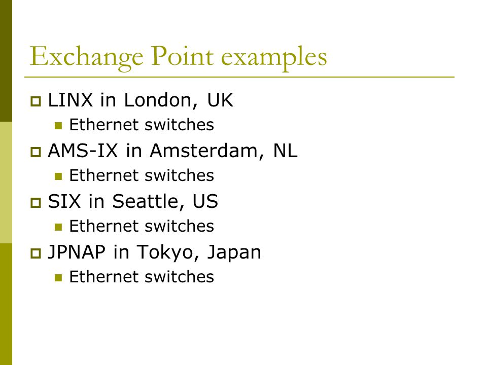Exchange Point examples