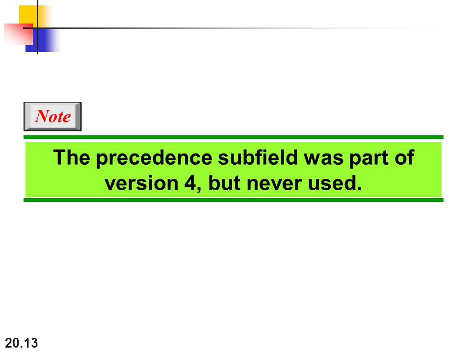 The precedence subfield was part of version 4, but never used.