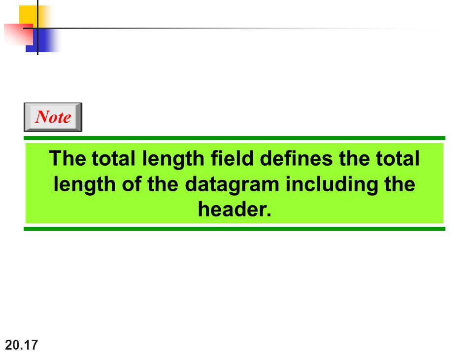 Note The total length field defines the total length of the datagram including the header.