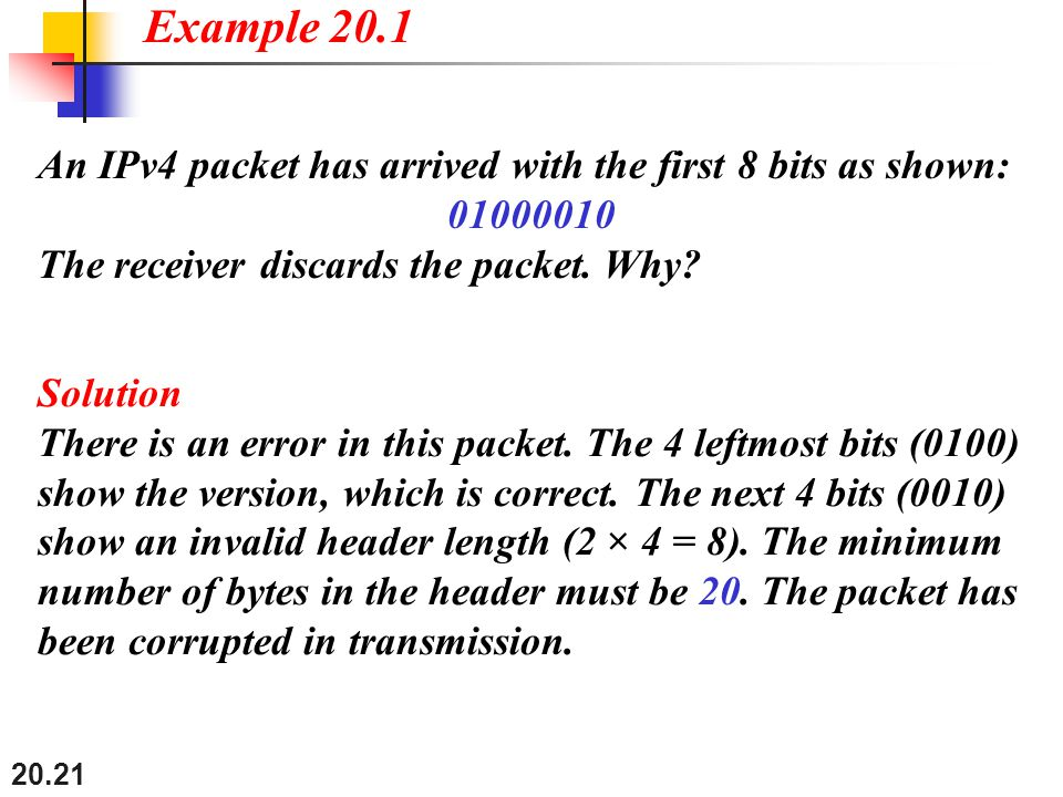 Example 20.1 An IPv4 packet has arrived with the first 8 bits as shown: 01000010. The receiver discards the packet. Why