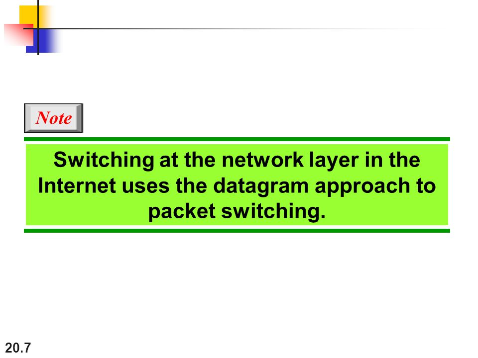 Note Switching at the network layer in the Internet uses the datagram approach to packet switching.