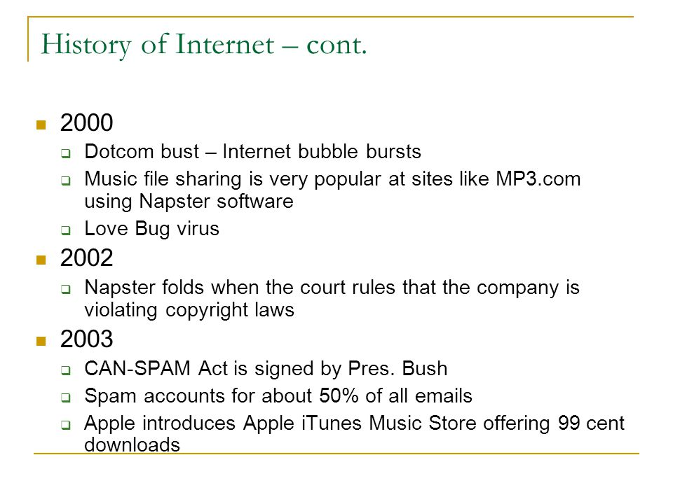 History of Internet – cont.