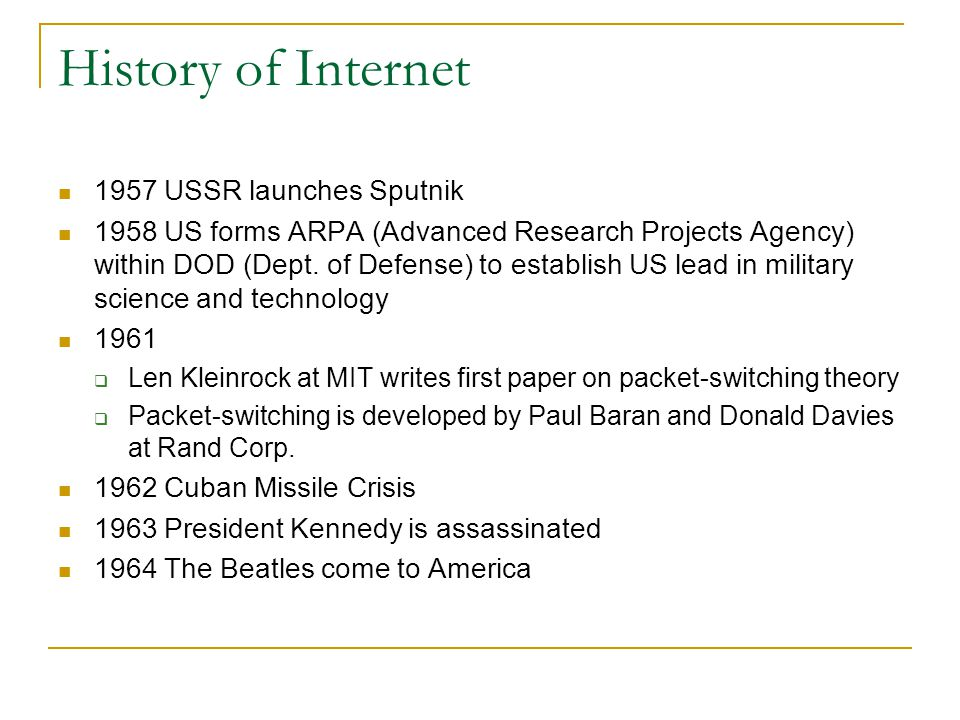 History of Internet 1957 USSR launches Sputnik