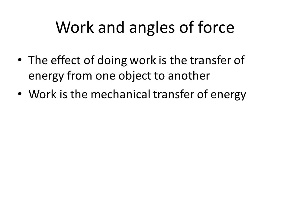 Work and angles of force