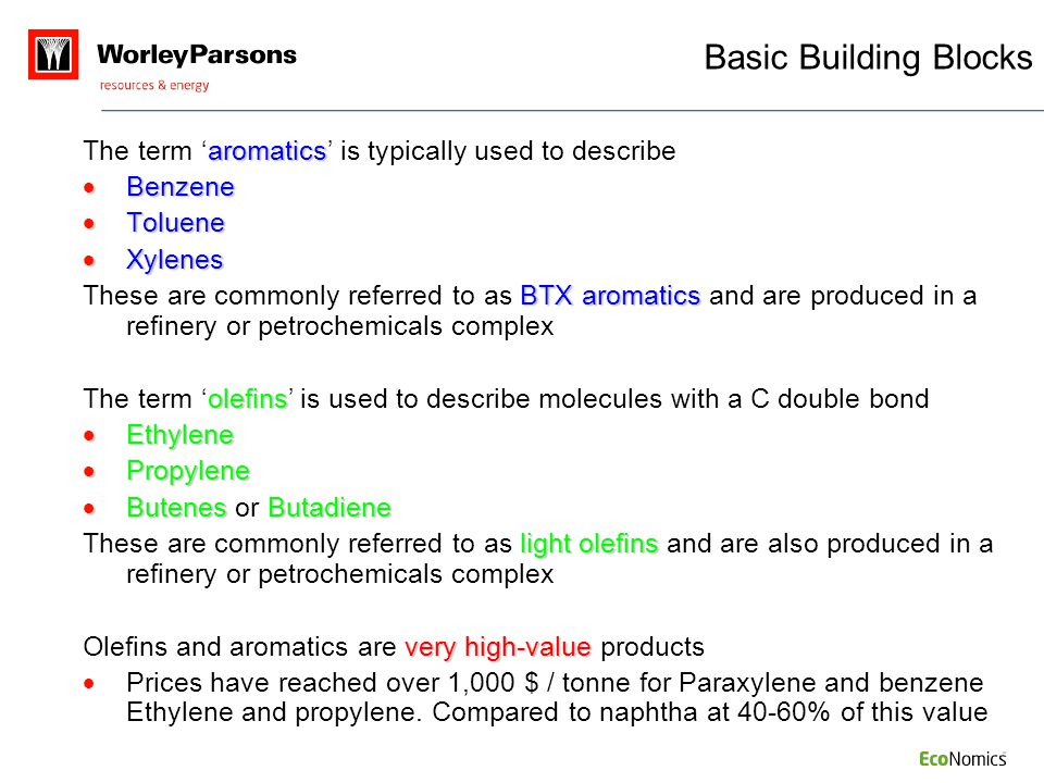 Basic Building Blocks The term 'aromatics' is typically used to describe. Benzene. Toluene. Xylenes.