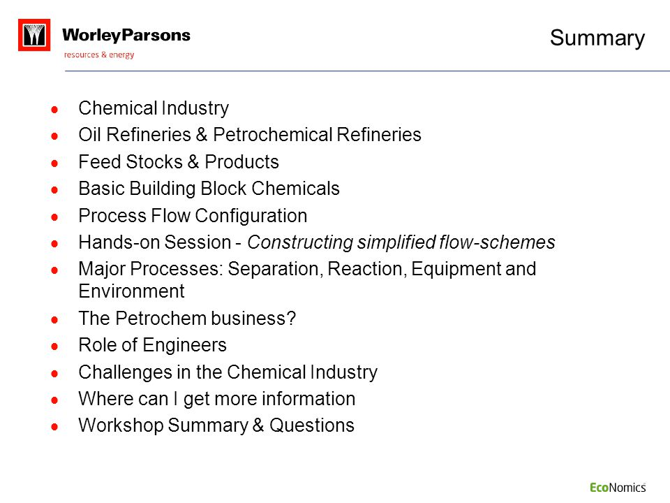 Summary Chemical Industry Oil Refineries & Petrochemical Refineries