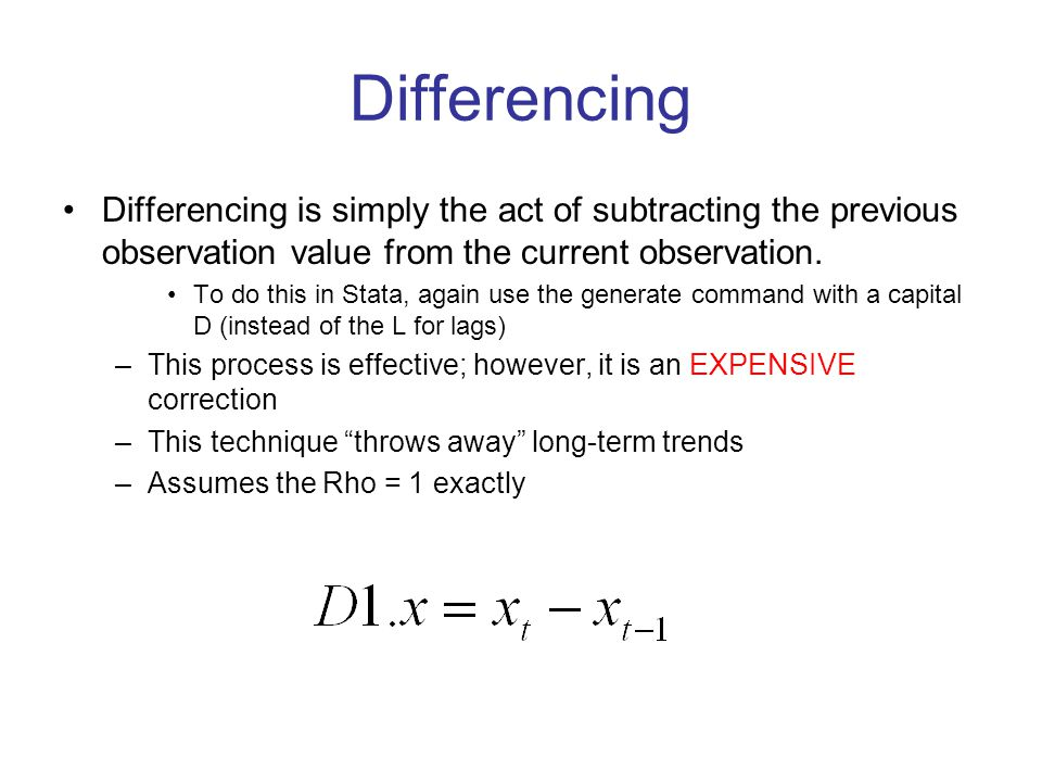 Differencing Differencing is simply the act of subtracting the previous observation value from the current observation.