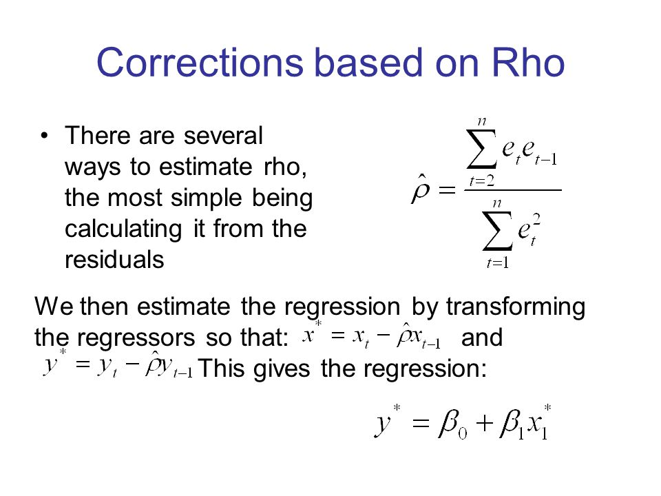 Corrections based on Rho
