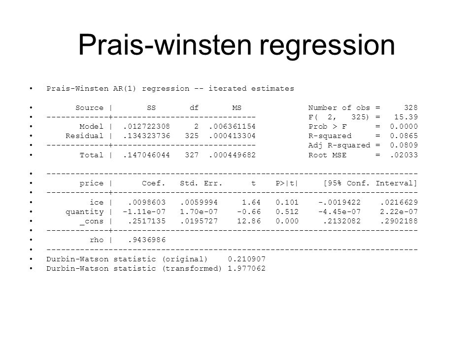 Prais-winsten regression
