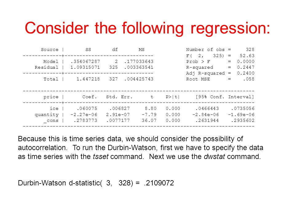 Consider the following regression: