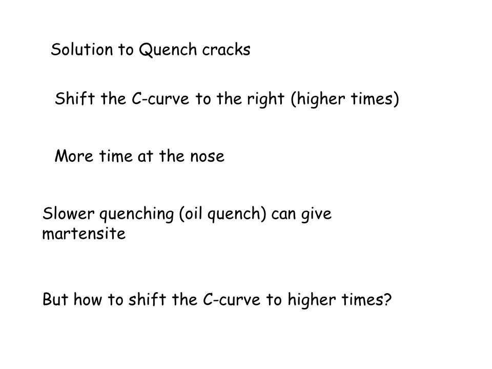 Solution to Quench cracks