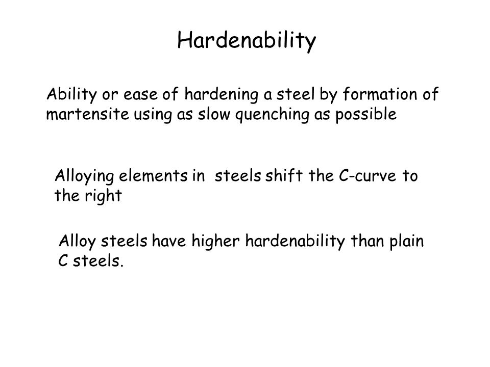 Hardenability Ability or ease of hardening a steel by formation of martensite using as slow quenching as possible.