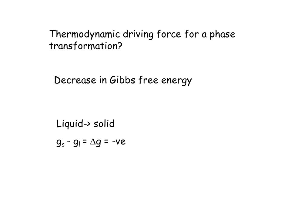 Thermodynamic driving force for a phase transformation