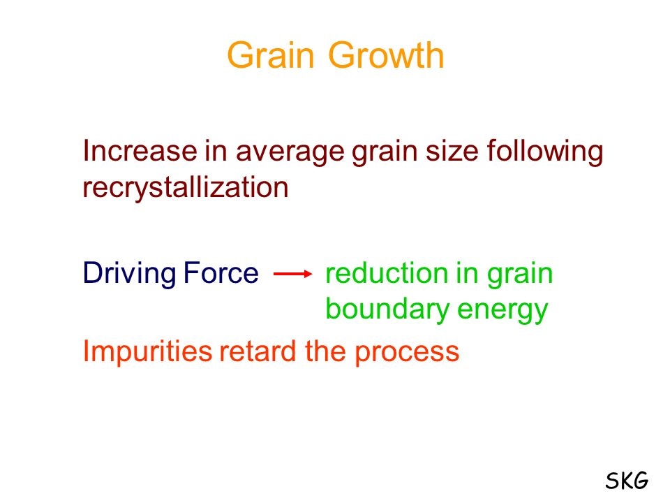Grain Growth Increase in average grain size following recrystallization. Driving Force reduction in grain boundary energy.