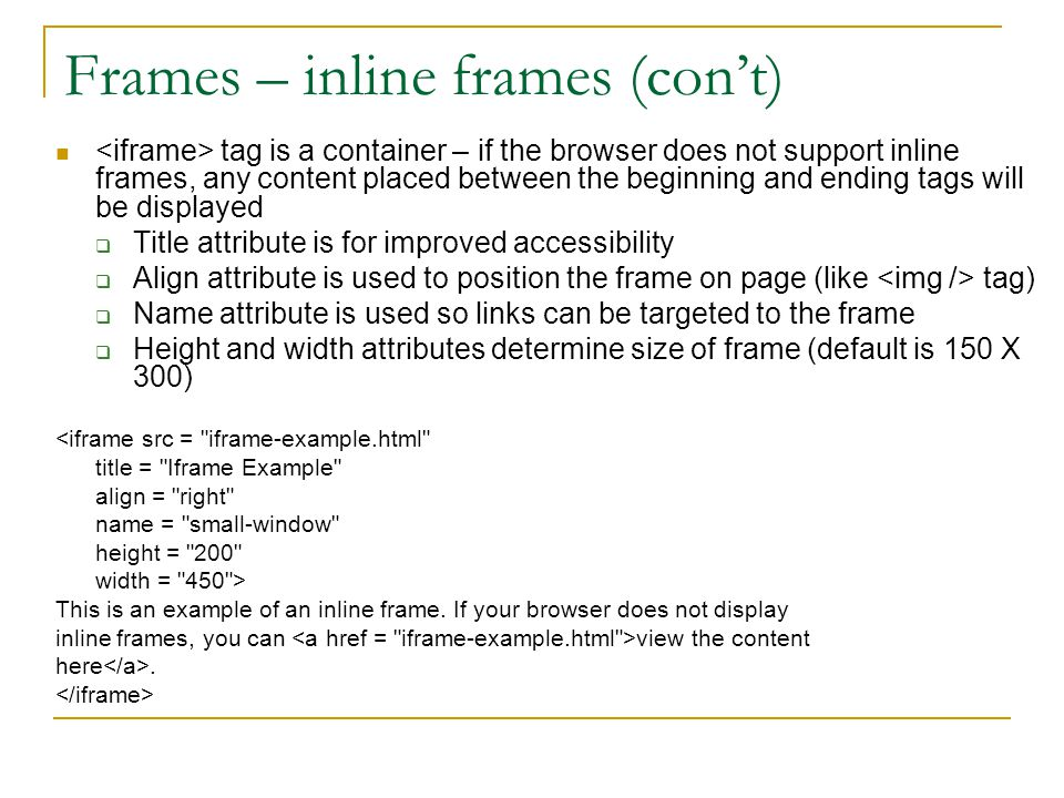 Frames – inline frames (con't)