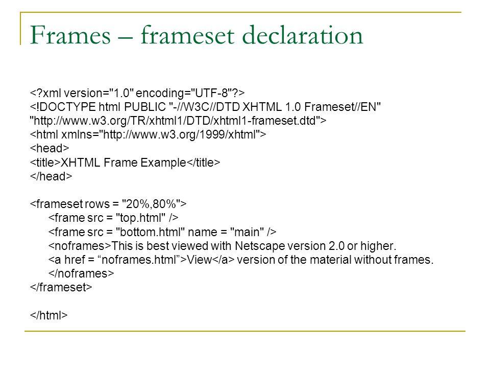 Frames – frameset declaration