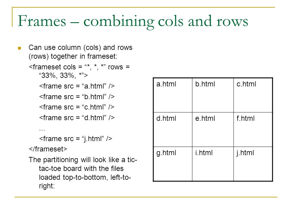 Frames – combining cols and rows