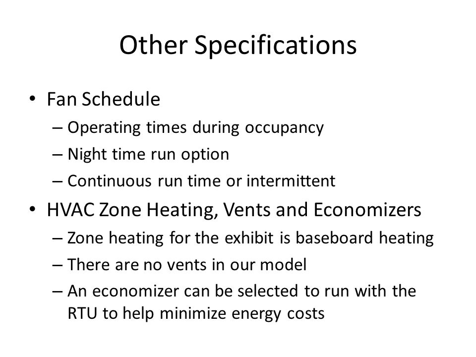 Other Specifications Fan Schedule