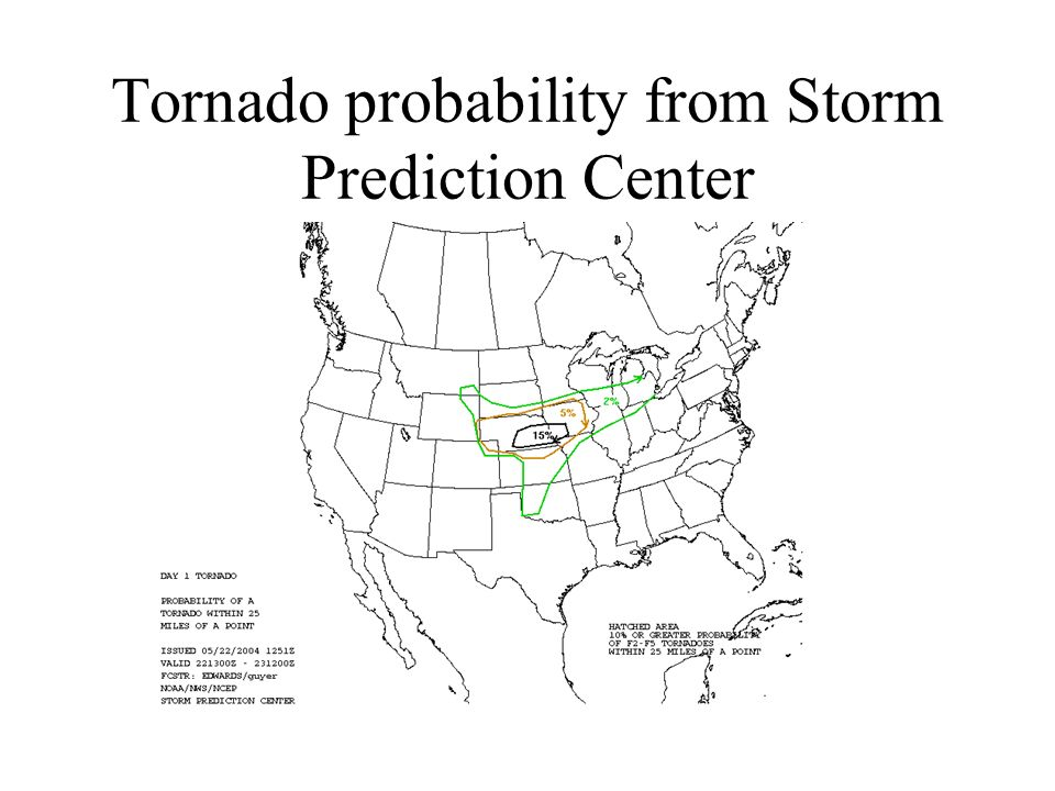 Tornado probability from Storm Prediction Center