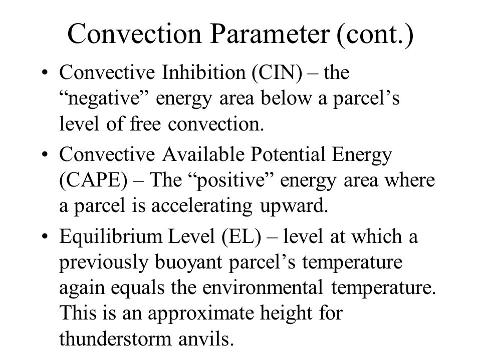 Convection Parameter (cont.)