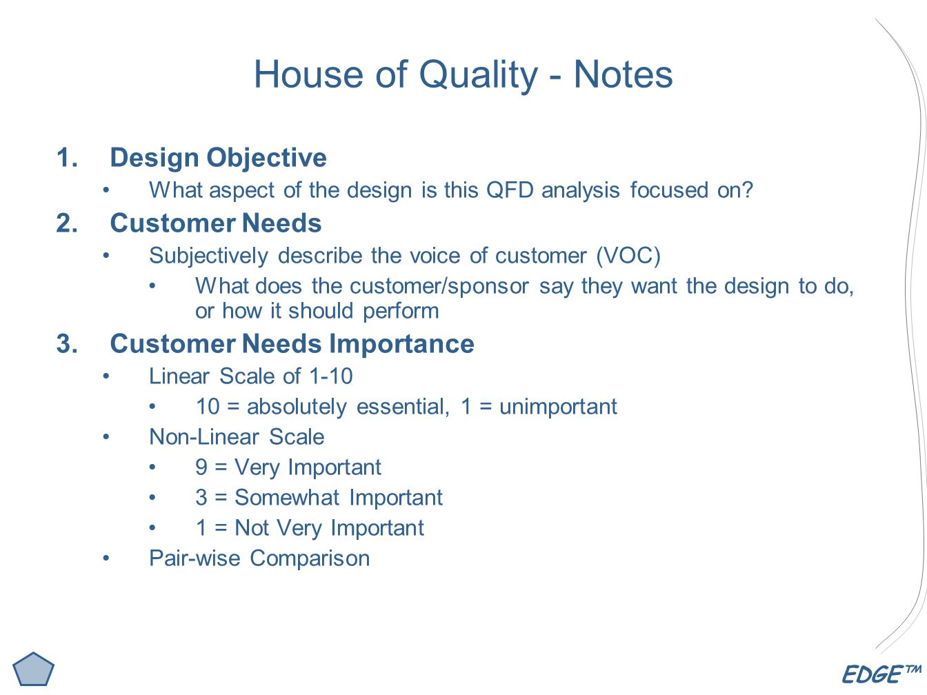 House of Quality - Notes