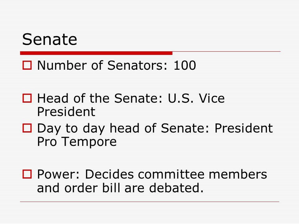 Senate Number of Senators: 100 Head of the Senate: U.S. Vice President