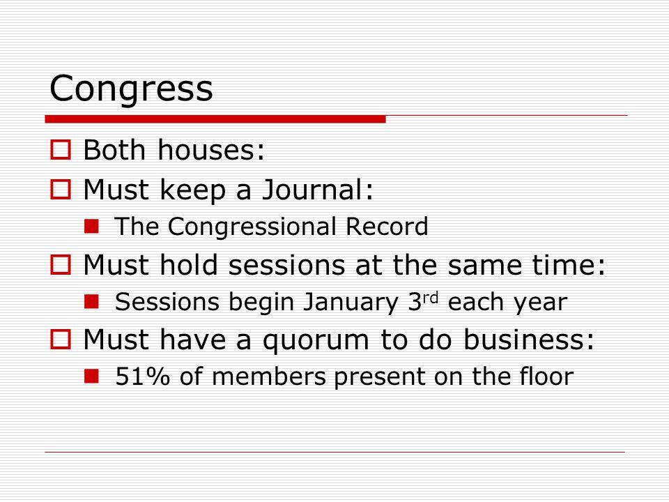 Congress Both houses: Must keep a Journal: