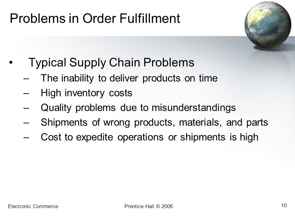 Problems in Order Fulfillment