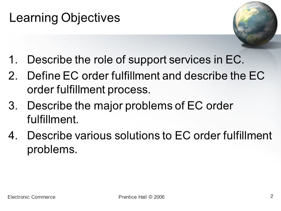 Learning Objectives Describe the role of support services in EC.