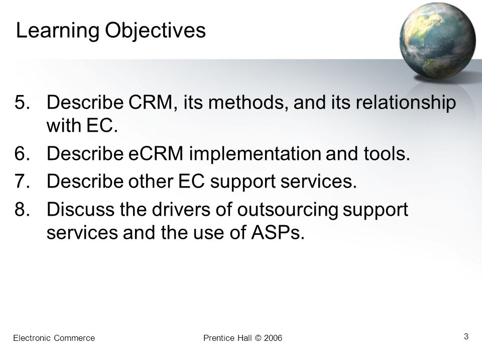 Learning Objectives Describe CRM, its methods, and its relationship with EC. Describe eCRM implementation and tools.