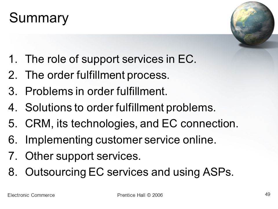 Summary The role of support services in EC.