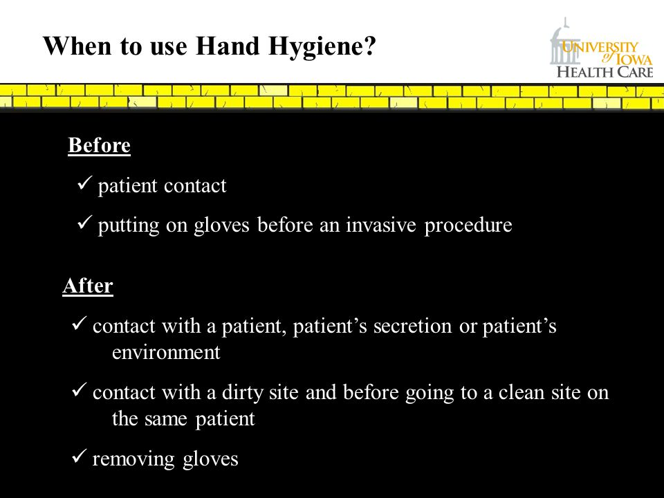 When to use Hand Hygiene
