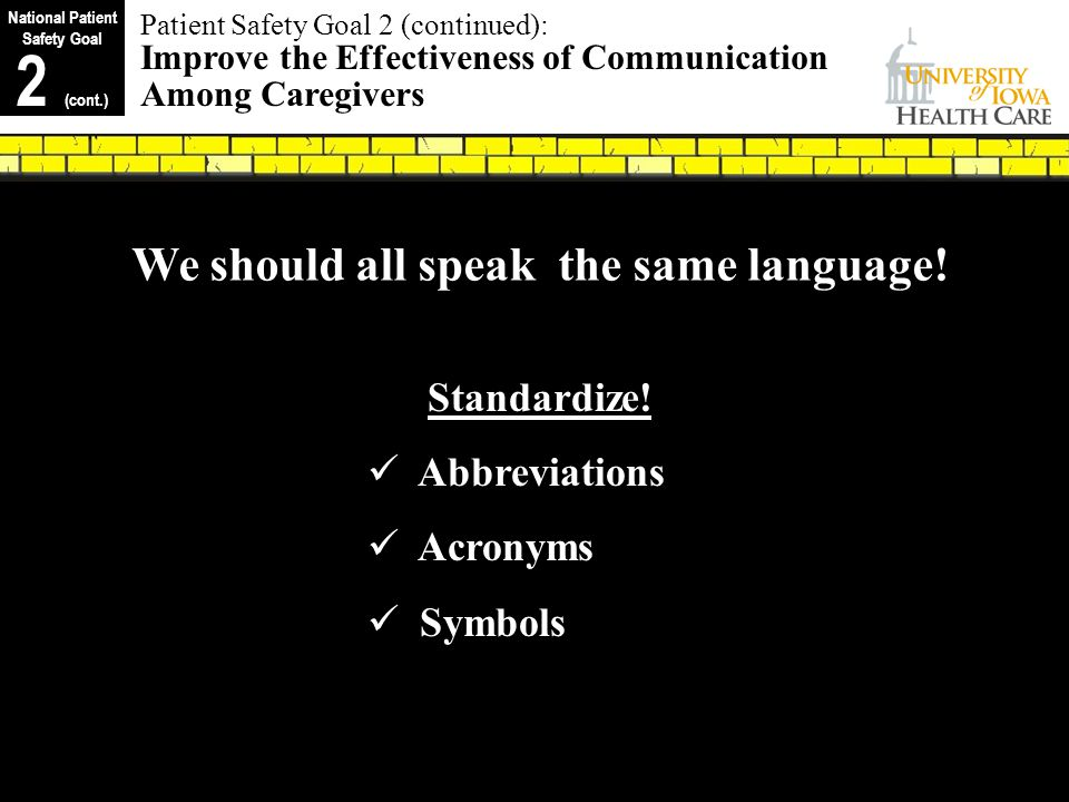 National Patient Safety Goal We should all speak the same language!