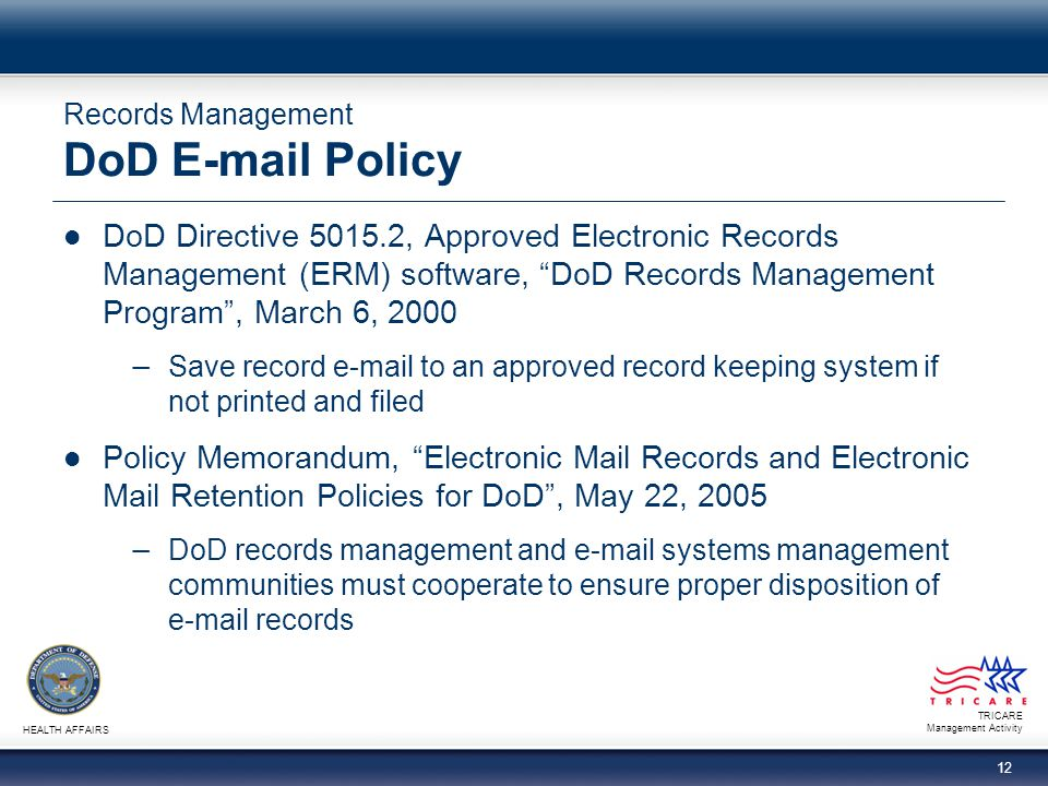Records Management DoD E-mail Policy