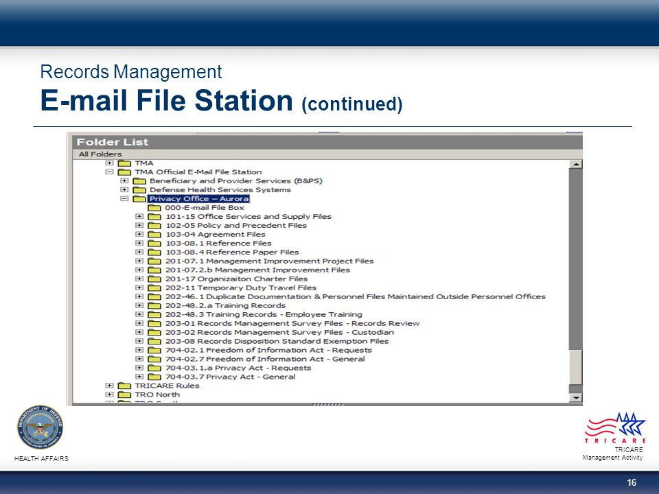 Records Management E-mail File Station (continued)
