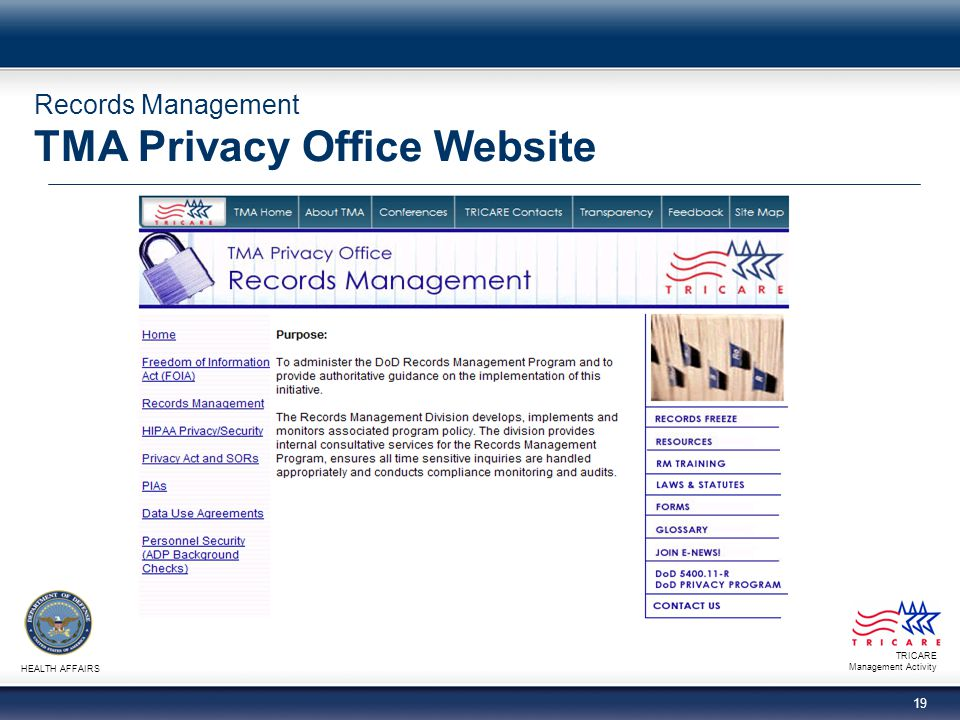 Records Management TMA Privacy Office Website