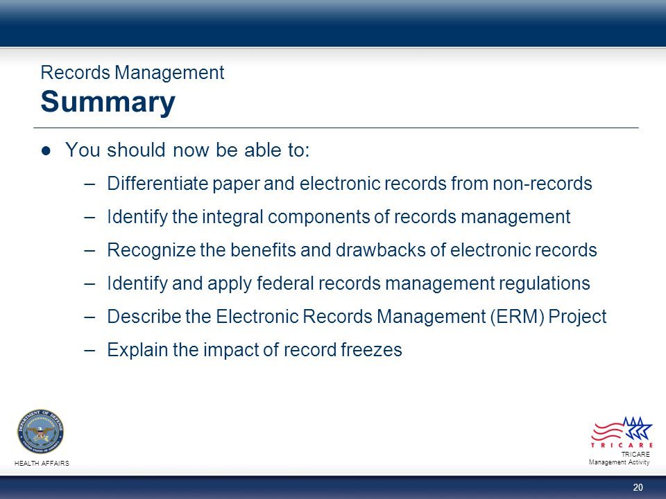 Records Management Summary