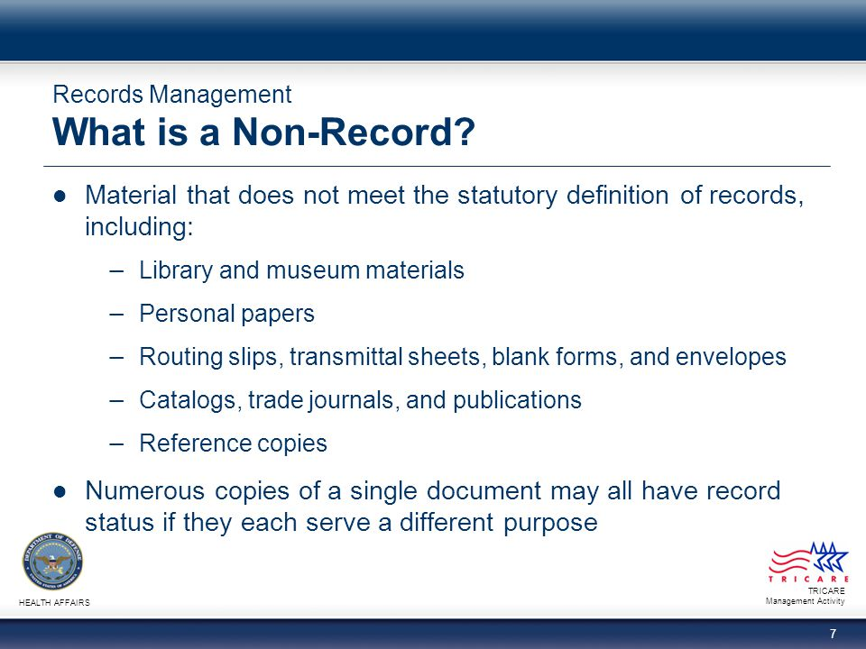 Records Management What is a Non-Record