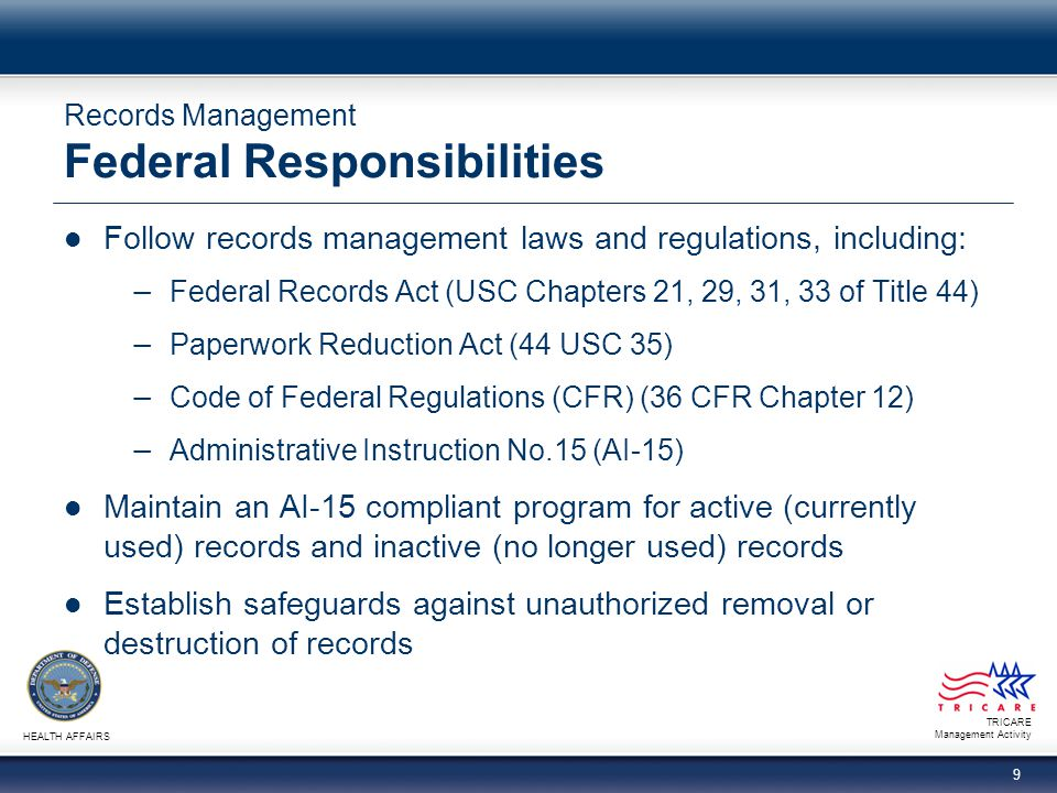 Records Management Federal Responsibilities