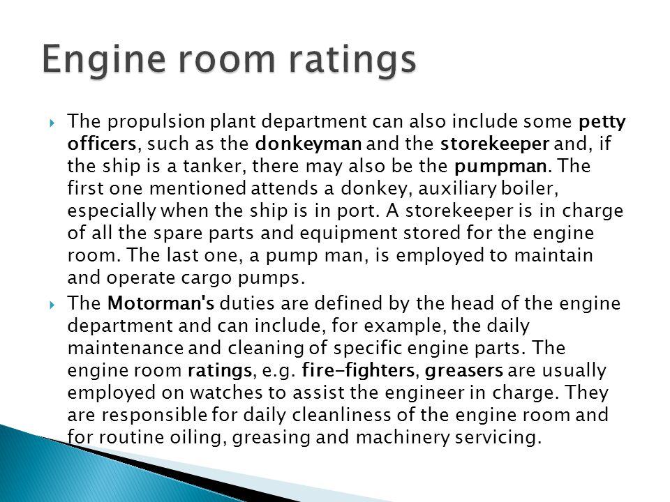 Engine room ratings